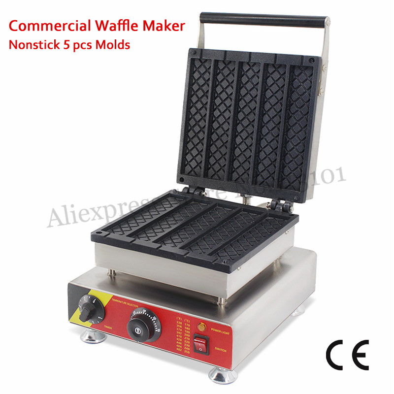 Electric Long Rectangle Shape Waffle Baker Machine 5 Molds 1500W with Timer and Temperature Controller 110V 220V vibration type pneumatic sanding machine rectangle grinding machine sand vibration machine polishing machine 70x100mm