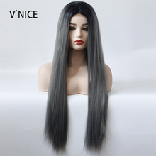 Black Roots Ombre Dark Grey Middle Part Wig Hand Tied Synthe
