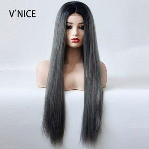 Preto raízes ombre cinza escuro parte do meio peruca mão amarrado sintético frente do laço natural longo perucas de cabelo reto para preto