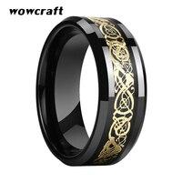 8mm Black Mens Tungsten Dragon Ring Gold Dragon Carbon Fiber Inlay Wedding Bands Comfort Fit Beveled Edges Polished Shiny