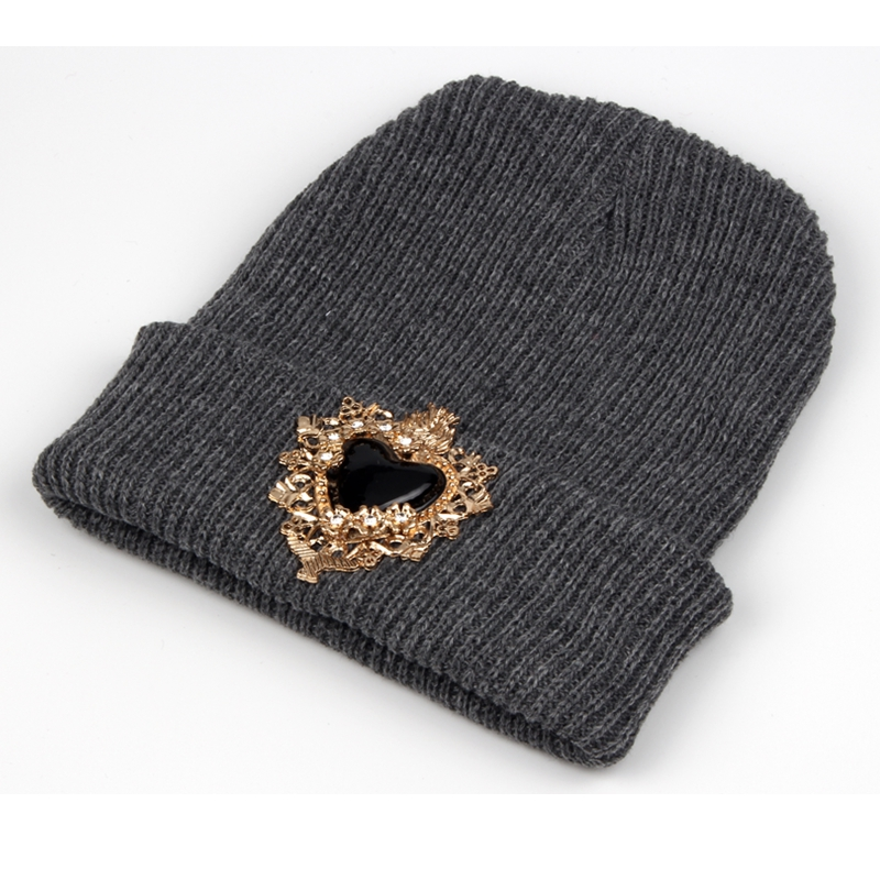 Winter Hats for Ladies Women vitnage Heart jewel Cap   Skullies     Beanies   Warm Caps Fashion Female Solid Knitted hats grros