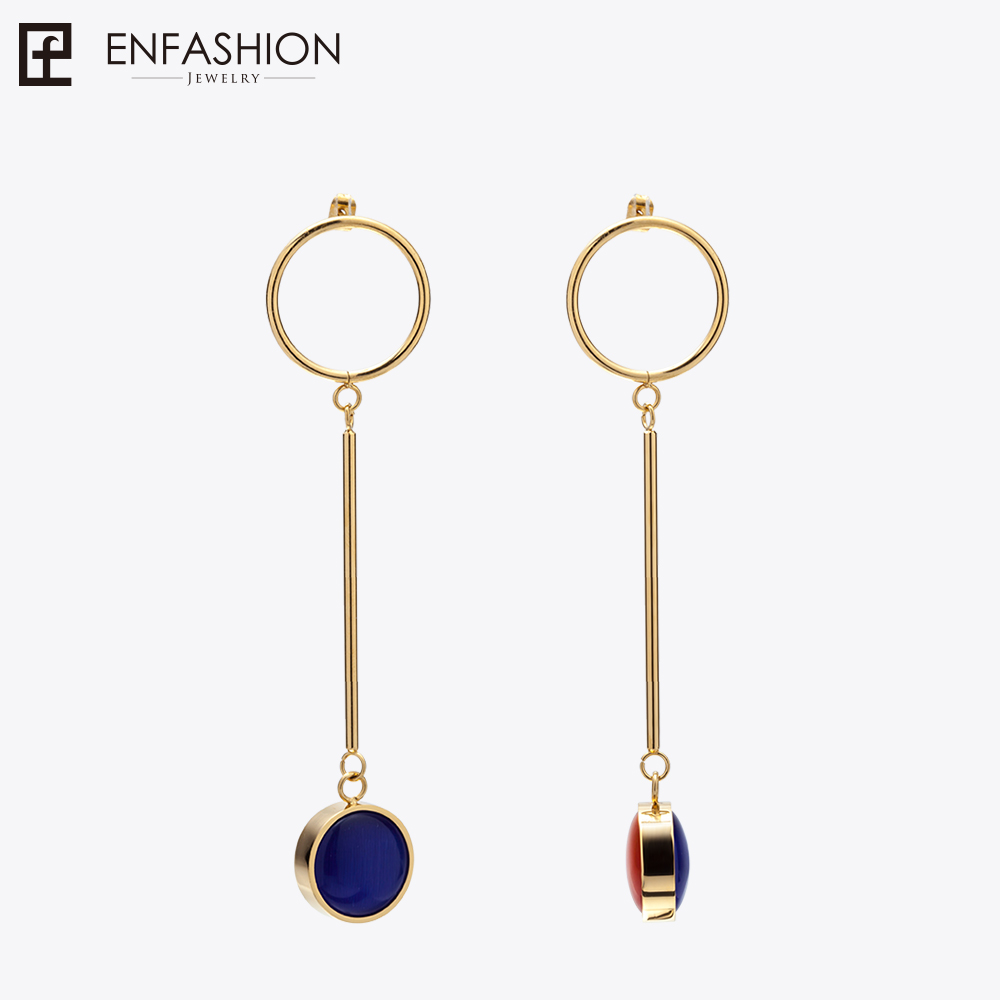 Enfashion Jewelry Colorful Oval Stone Dangle Earrings Gold color Stainless steel Long Drop Earrings For Women Earings EEF1015 gold plated stone asymmetry dangle earrings