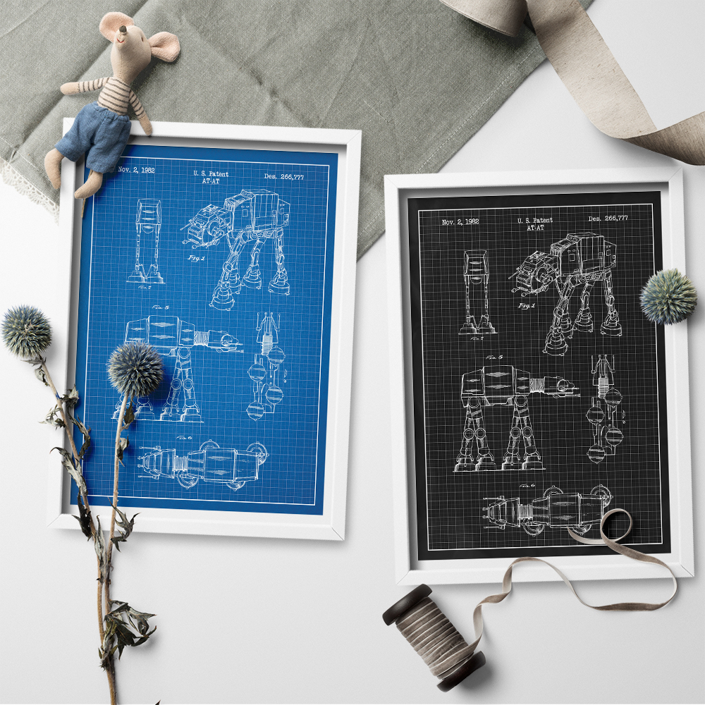 Star Wars AT-AT Design Patent Blueprint Canvas Art Posters Prints Wall Art Canvas Painting Sticker for Home Decoration No Frame