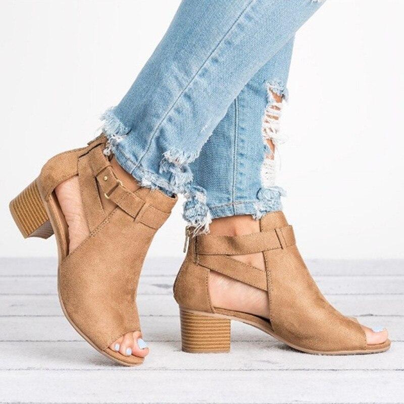 2019 Frau Keil Schnallen Fisch Mund Sandalen Gladiator Frauen Sandalen Mid Ferse Sandalen Damen Sommer Peep Toe Frauen Schuhe 35 -43 Elegante Form
