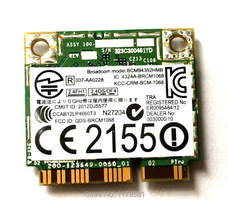 Wifi sans fil BT4.0 Wlan BCM4352 Broadcom BCM94352HMB DW1550 sans fil-AC 867 Mbps 802.11ac moitié Mini carte wifi PCI-e bluetooth