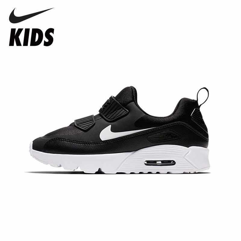 NIKE AIR MAX MINÚSCULO 90 Sapatas Dos Miúdos Nova Chegada Respirável Crianças Esportes Tênis de Corrida das Sapatilhas Confortáveis #881927- 007