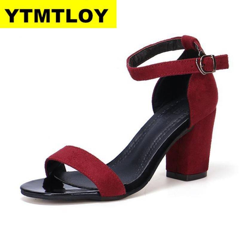 2020 Summer Women Sandals Open Toe Women's Sandles Thick Heel Women Pumps Shoes Korean Style Gladiator Shoes High heel