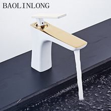Baking Finish White Basin Brass Bathroom Faucets Vanity Vessel Sinks Deck Mount Mixer Faucet Tap