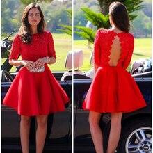 Elegante Rote Spitze Kurze Cocktailkleider New Halbe Hülse Backless Kurze Abendkleider Günstige Blume Kurze Heimkehr Graduation Kleid