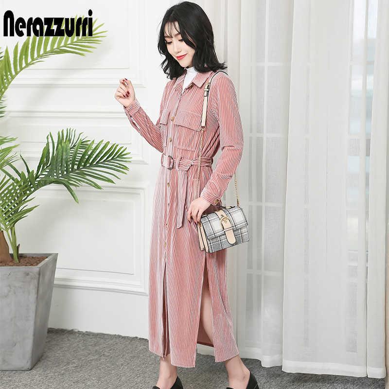 Nerazzurri Платье макси с длинным рукавом для женщин Новое поступление 2019 Полосатое Макси платье-рубашка с разрезом и карманами размера плюс мода 5xl