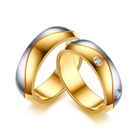 Wedding Bands Ring Gold Color CZ Stone Rings For Women Men Promise Jewelry