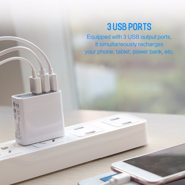 Triple USB Travel Charger with Voltage & Current Display