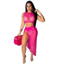 Adogirl Women Sheer Mesh Two Piece Set Sexy Dress Sleeveless Crop Top + High Slit Asymmetrical Maxi Skirt Night Club Party