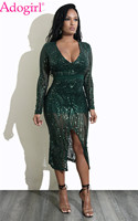 Adogirl Sexy Deep V Neck Long Sleeve Sequins Club Dresses Sheer Mesh Front Slit Bodycon Midi Party Dress Stage Costumes Vestidos