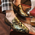 Luxury Gold Parttern Black Blue Men Casual Shoes Fashion Round Toe Male Comfortable Flats Concise Loafers Hand Painted Flowers