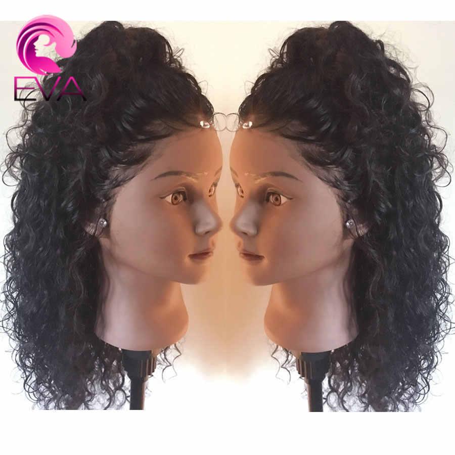 Вьющиеся 360 кружевных фронтальных париков предварительно выщипанные с детскими волосами бесклеевые короткие кружевные передние человеческие волосы боб парики бразильские волосы Remy Eva парик