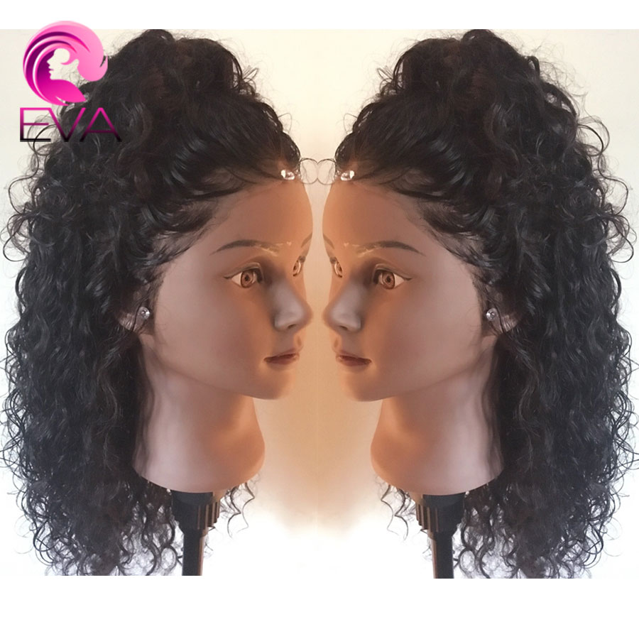 Frontal-Wigs Short Human-Hair Curly Glueless Lace-Front Pre-Plucked 360-Lace Brazilian title=