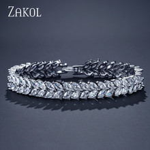 Fashion Brides Wedding Leaf Jewelry Marquise Cut Zircon Crystal White Color Bracelets Bangles for Women FSBP131