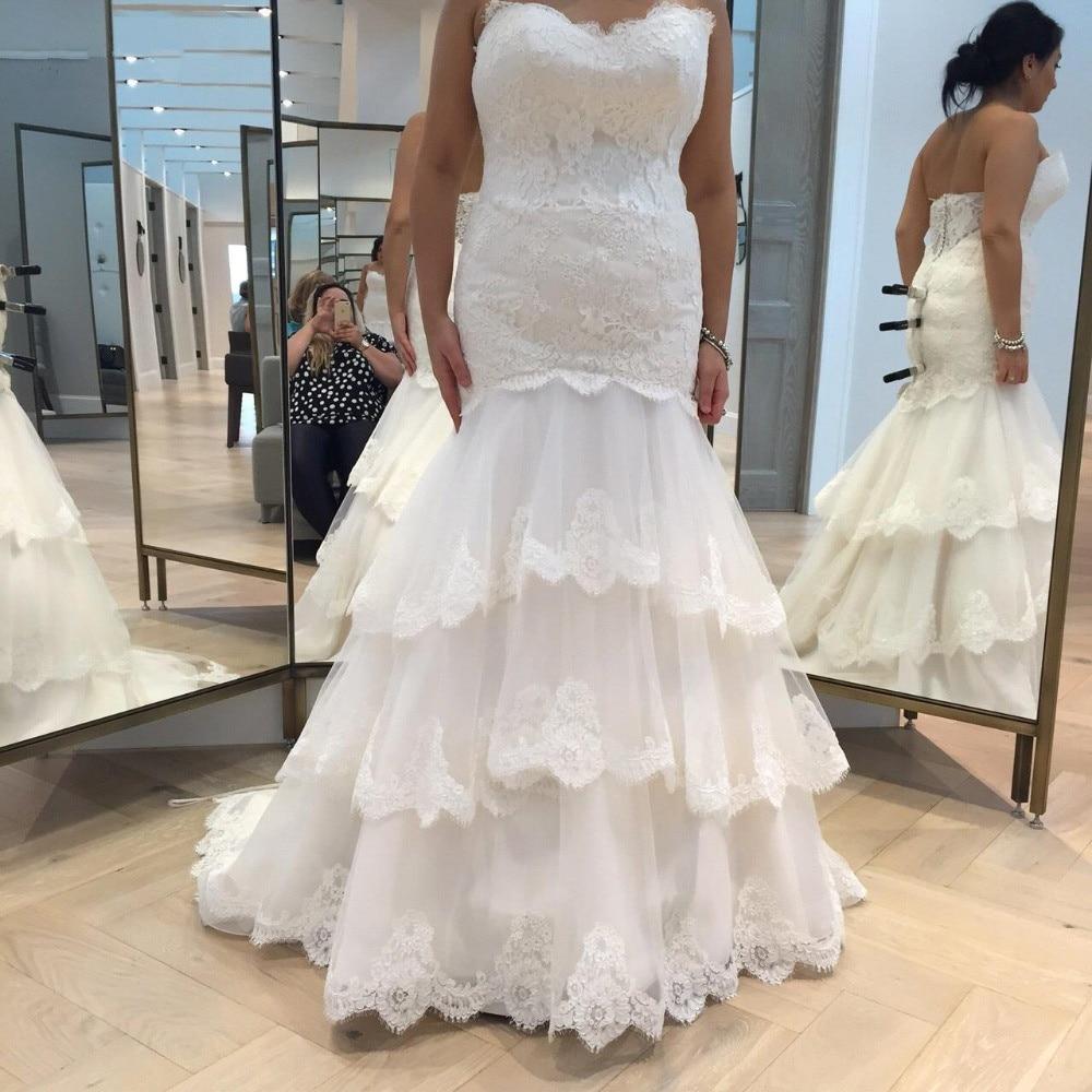 DZW294 Robe De Mariage Sweetheart Lace Tiered Appliques Sleeveless Mermaid Wedding Dresses  wedding gowns vestido de noiva