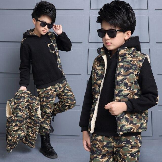 Children Tracksuits camouflage Autumn winter Boys Sports Suits 3 Pieces Vest + T Shirt + Pants thickening plus velvet Kids Sets