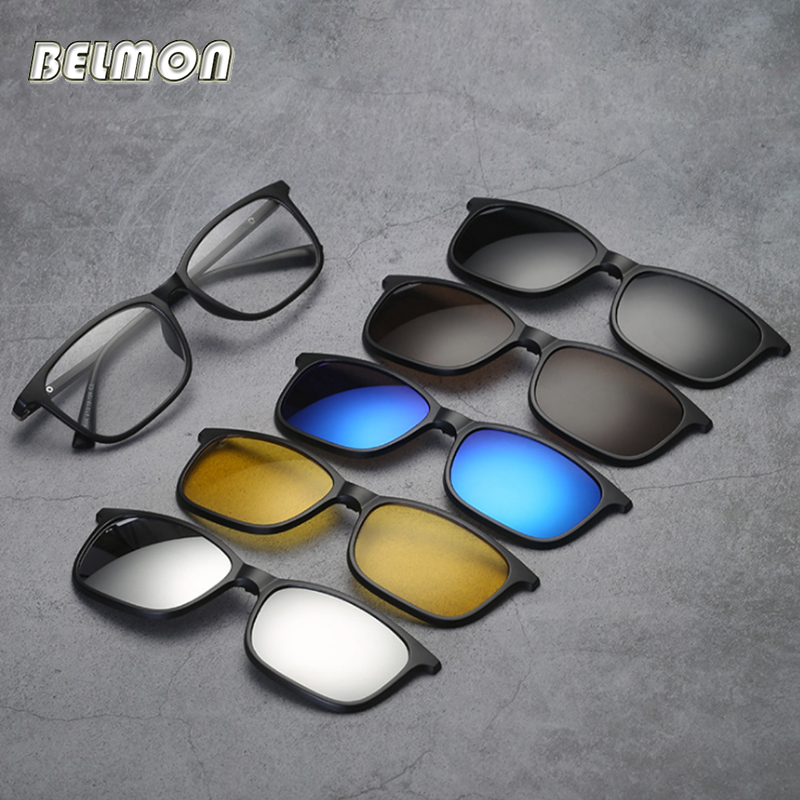 Belmon Spectacle Frame Men Women With 5 PCS Clip On Polarized Sunglasses Magnetic Glasses Male Myopia Computer Optical RS543