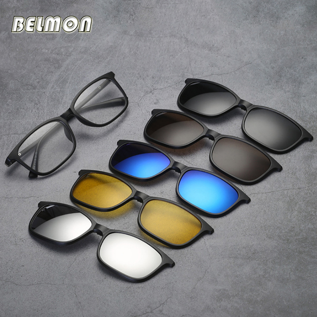 1685dd1690 Belmon Spectacle Frame Men Women With 5 PCS Clip On Polarized Sunglasses  Magnetic Glasses Male Myopia Computer Optical RS543
