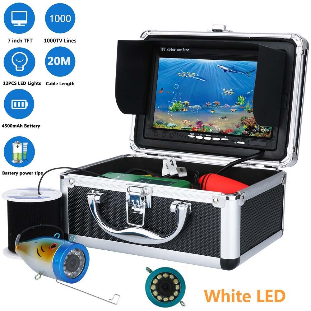 "20M 7"" Inch 1000tvl Underwater Fishing Video Camera Kit 12 PCS LED White Lamp Lights  Video Fish Finder Under Water fish camera"
