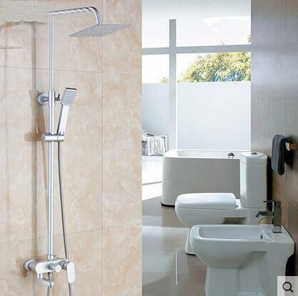 Space Aluminum shower faucet set rainfall shower head, Bathroom handheld shower head faucet mixer, Wall mounted shower water tap