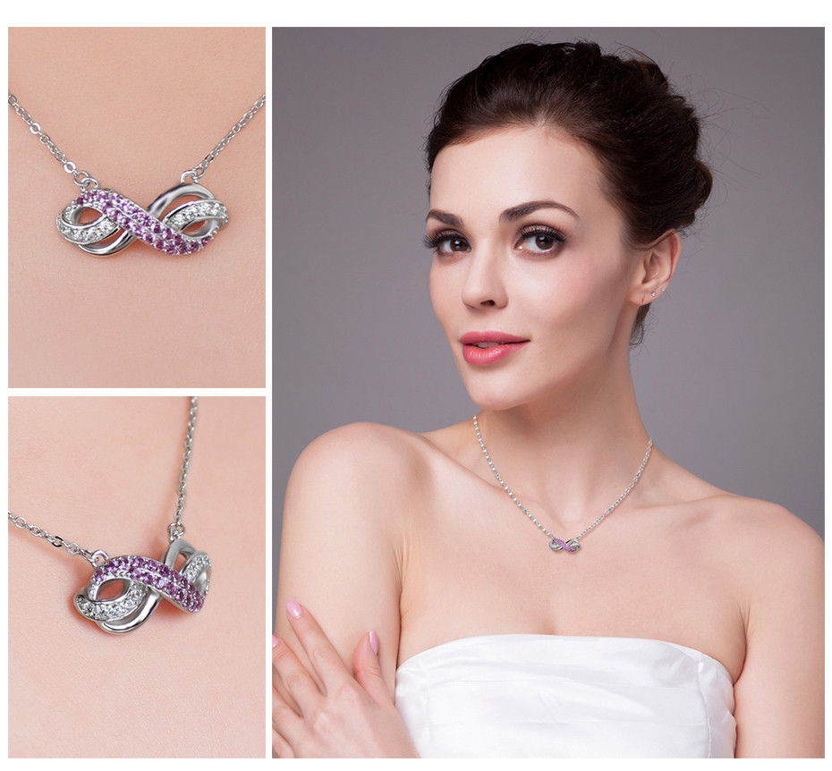 Infinity Created Pink Sapphire Anniversary Necklace