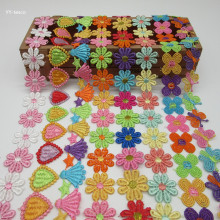 engros 2 Yards Colorful Delicious Flowers Daisy Polyester 2,5cm Lace Trim Brodert Lace Ribbon For Sewing Craft Wedding