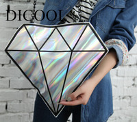 Harajuku 3D hologram hologram hologram Diament kształt dni Sprzęgła kobiety messenger torby łańcuch torebki