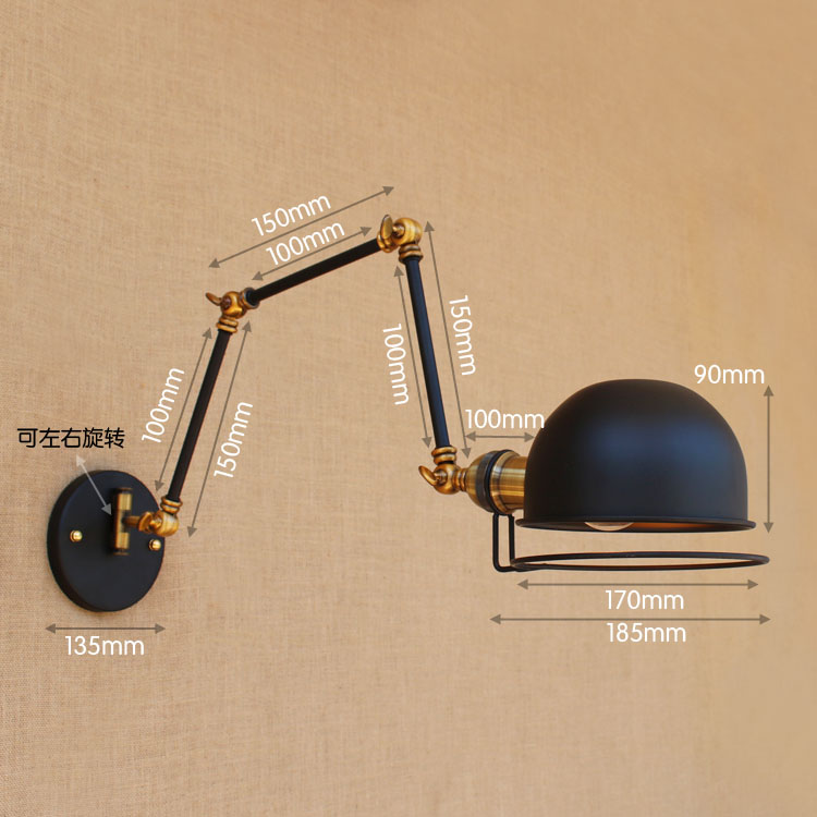 Image 4 - Swing Long Arm Wall Lamp Retro Loft Style Vintage Industrial Lighting Fixtures Wandlamp Edison Wall Sconces Applique Light Pared-in Wall Lamps from Lights & Lighting