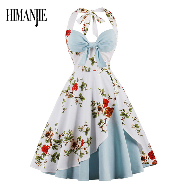 feda003eef 2017 Sexy 50s Retro Hepburn Style Sexy Tube Top Halter Dress Front Bow Flower  Print Color
