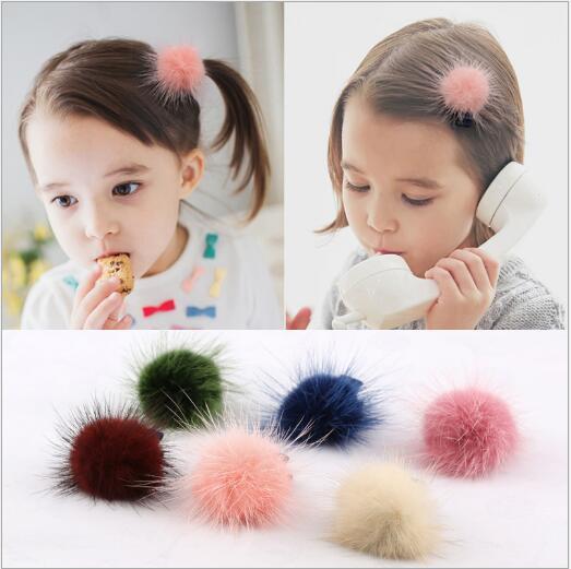 10pcs/Lot New Scrunchy Girls Cute Artificial Rabbit Fur Ball Hair Clip Headbands Hairpins Kids Hairclip Hair Accessories