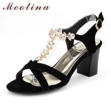 Moetin Chaussures Femmes Strass Sandales D'été En Daim Véritable Sandales En Cuir Talons hauts Sandales Dames Chaussures Grande Taille 11 43 44