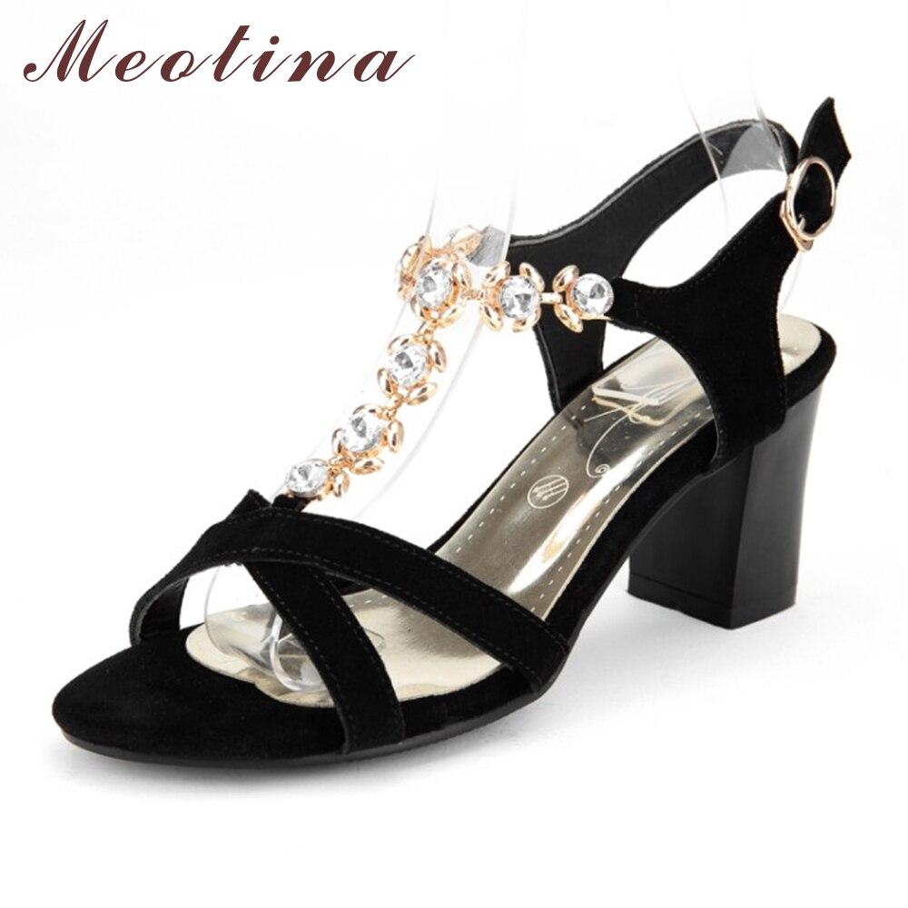 Womens sandals in size 11 - Moetin Shoes Women Rhinestone Sandals Summer Suede Genuine Leather Sandals High Heels Sandals Ladies Shoes Big