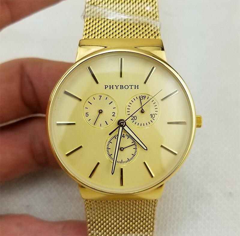 Japoński mechanizm kwarcowy zegar męski zegarek sportowy Phyboth złoto codzienny zegarek ze stali nierdzewnej darmowa wysyłka w Zegarki kwarcowe od Zegarki na  Grupa 2