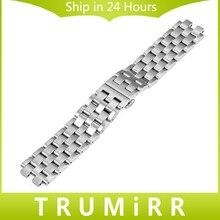 22mm de acero inoxidable correa de reloj butterfly hebilla venda de reloj de pulsera de acero correa para pebble 2 plata negro w/all enlaces extraíbles
