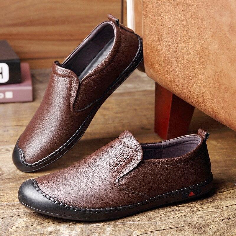 b0a44d09e35d Homme marron D'affaires slip Sur Aa52061 Couture Souple Bureau Slip Noir  Mâle Chaussures Cuir Hommes Anti Décontractée Confortable Mocassins En ...