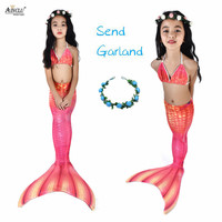 5PCS/Set The Little Mermaid Tail Costume Princess Ariel Children Mermaid Tail Cosplay Kids for Girl Fancy Swimsuit High Quality