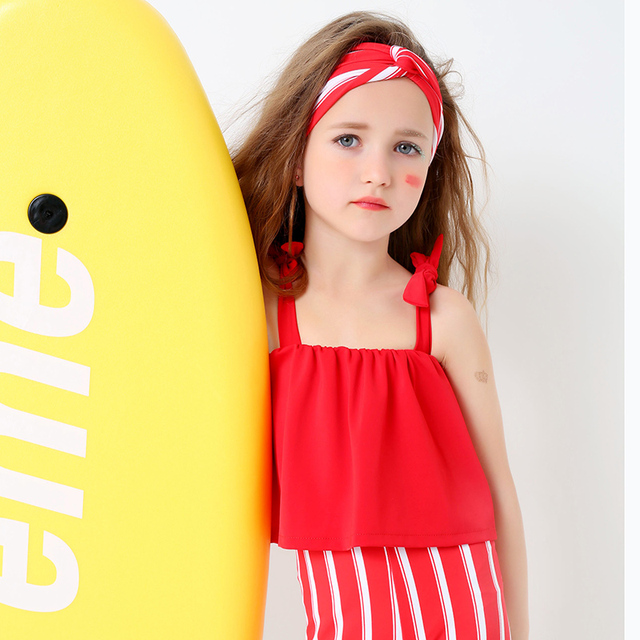 M Cute S Red Bathing Suits With Hair Band Ruffles Top Striped Long Pant Two Piece