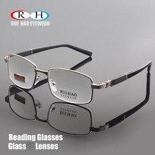 Gafas de lectura de marca, lentes de cristal transparentes, gafas de lectura para presbicia + 1,00 ~ + 4,00, diseño rectangular 1308