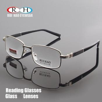 Okulary do czytania marki jasne szklane soczewki okulary do czytania okulary do czytania + 1 00 ~ + 4 00 okulary prostokątne Design 1308 tanie i dobre opinie WOMEN Unisex Antyrefleksyjną 5 2cm 3 4cm RUI HAO EYEWEAR Stop Szkło