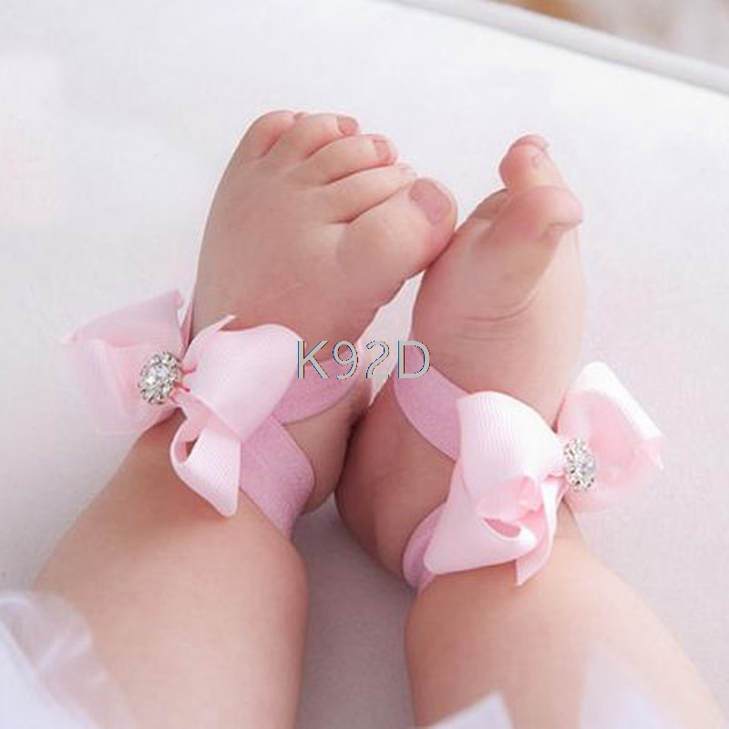 Baby Girls Barefoot Sandals Lace Foot Flower Silver Shoes Headband White Silver