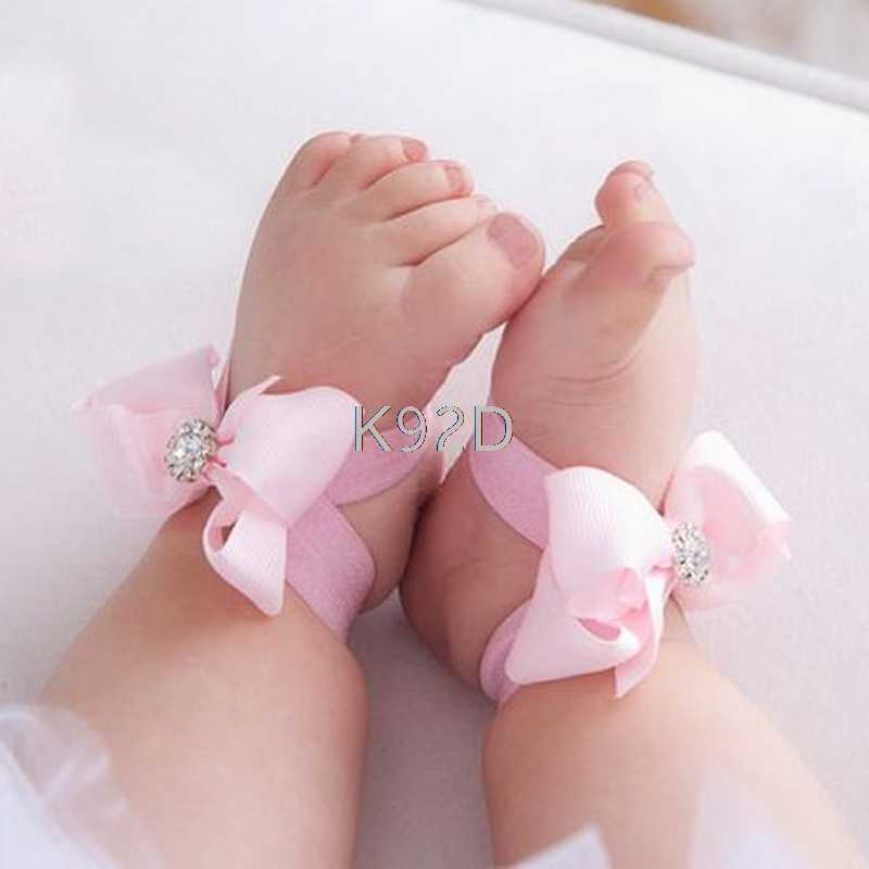 Baby Girl Kids Barefoot Sandals Shoes Headband Crystal Flower Foot Band N20
