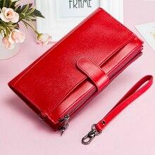 Cartera de mano de gran capacidad para mujer, billetera de cuero genuino, bolso largo para mujer, con correa de diseño con cremallera, monedero, tarjetero