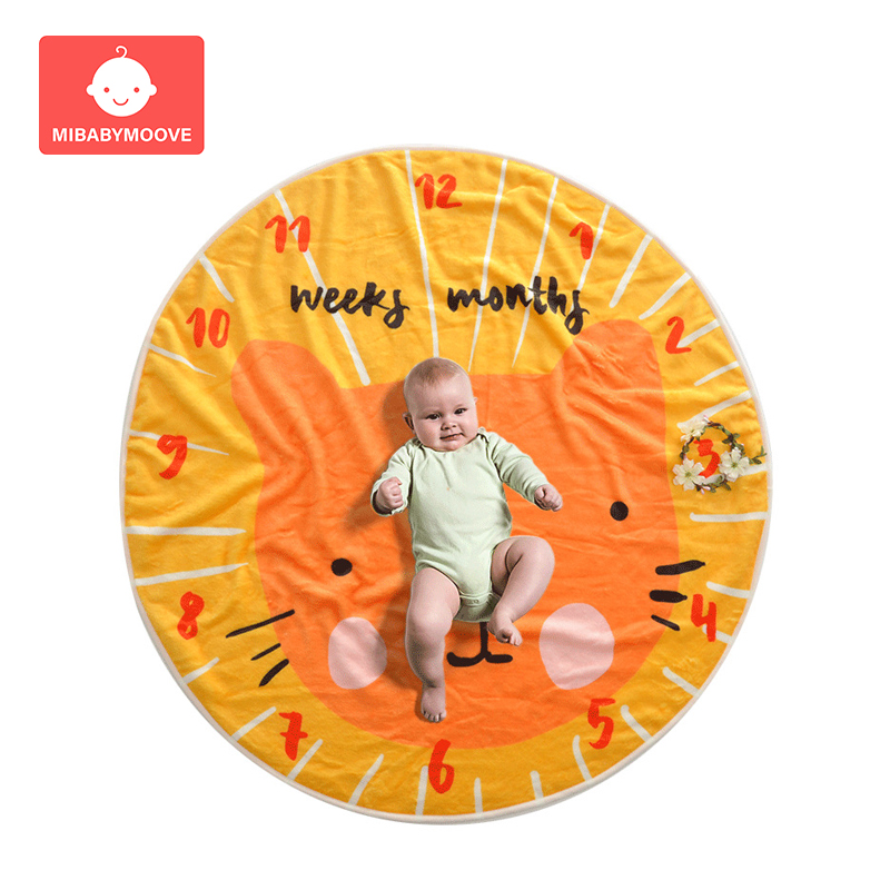 Round Baby Milestone Blanket Soft Flannel Monthly Growth Bed Blankets Newborn Photo Photography Background Props Accessories