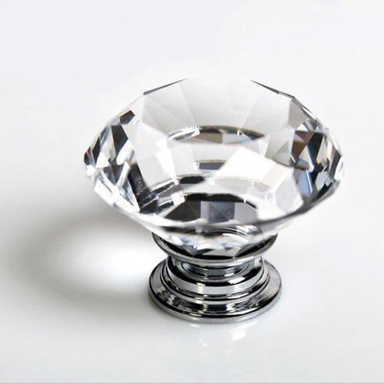 8 pcs 30mm Diamante Crystal Clear Glass Door Knob Gaveta Do Armário Roupeiro