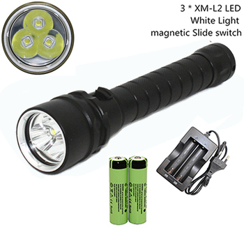 Waterproof Dive Torch  XM-L2 LED Diving Flashlight Underwater Flashlight  Lamp + 18650 Battery + AC Charger xm l2 led diving flashlight torch waterproof underwater 100m with 3 18650 battery dc rechargeable dive white light lamp torch