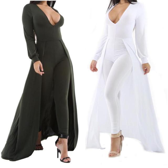 Черный темно-зеленый мода плюс размер длинные женщины комбинезоны комбинезоны комбинезоны комбинезоны глубокий V-образным Вырезом